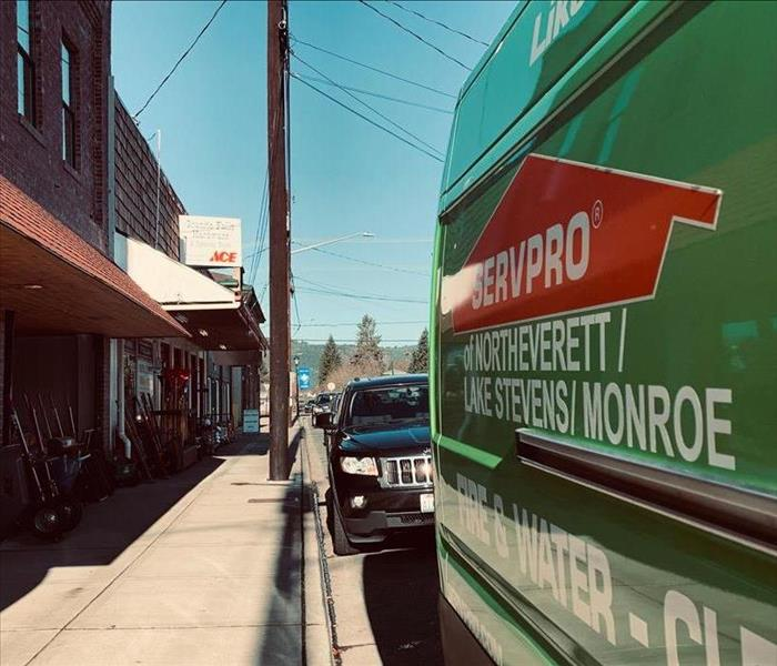 SERVPRO vehicle parked in front of business