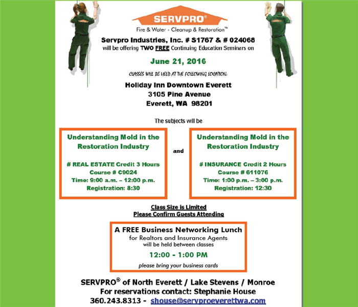 Community SERVPRO hosting Continuing Education Class and Luncheon for Real Estate and Insurance Professionals